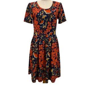 Lularoe orange blue floral fit and flare dress